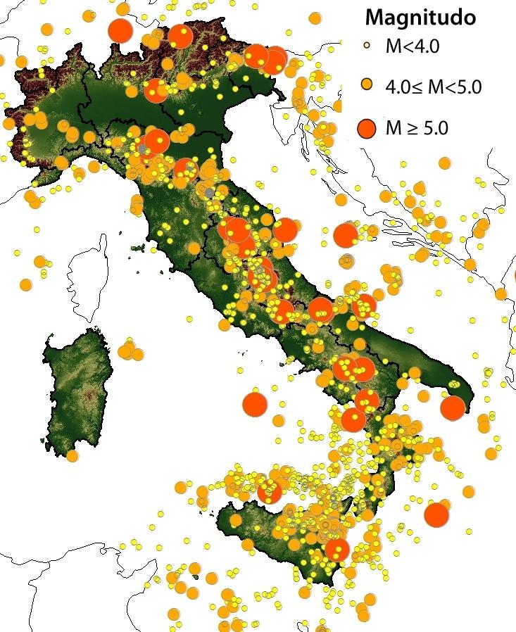 Cartina Italia Terremoti.I Terremoti In Italia Sguardo Sulla Terra