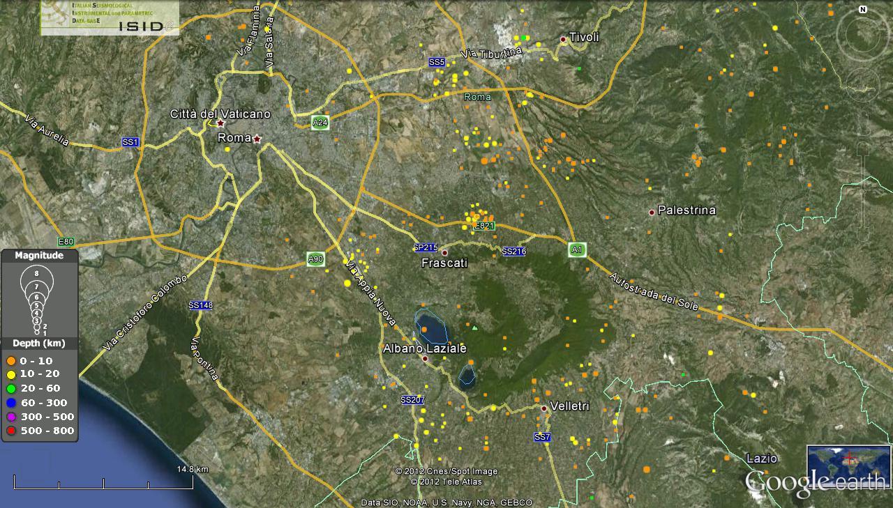 Colli albani ingvterremoti for Ingv lista terremoti di oggi