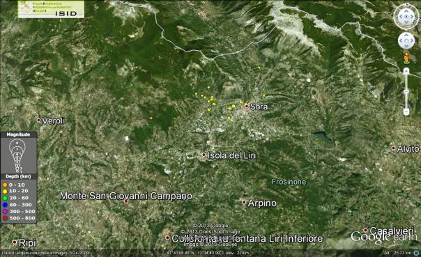 Localizzazione degli eventi registrati nelle ultime 12 ore