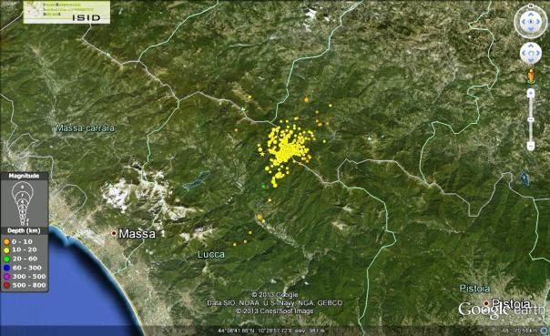 Sequenza sismica in Garfagnana dal 25 gennaio 2013 al 01 febbraio 2013 (fonte dati http://iside.rm.ingv.it)
