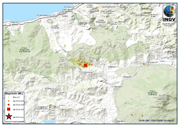 Sequenza sismica sui Monti Nebrodi