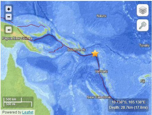 Localizzazione evento sismico (http://earthquake.usgs.gov)