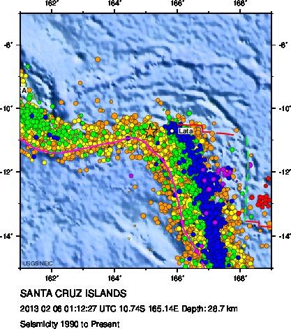 la mappa i terremoti che si approfondiscono verso est