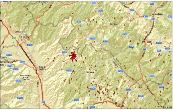 Sequenza sismica a nord est di Città di Castello (PG). In rosso gli eventi della sequenza (circa 60) aggiornati alle ore 09.00 del 24.03.2013. In arancio gli eventi dal 1 gennaio 2013.