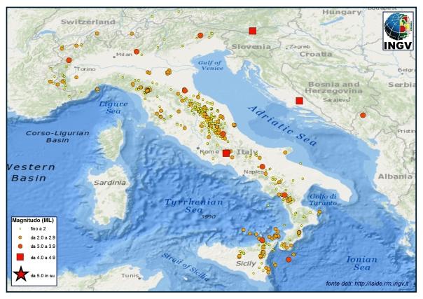 Terremoti registrati dalla Rete Sismica Nazionale durante il mese di Febbraio. Fonte dati: http://iside.rm.ingv.it