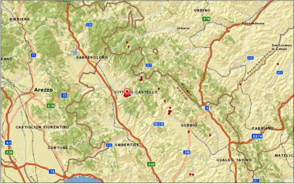 Localizzazione terremoto nei pressi di Città di Castello (PG) alle ore