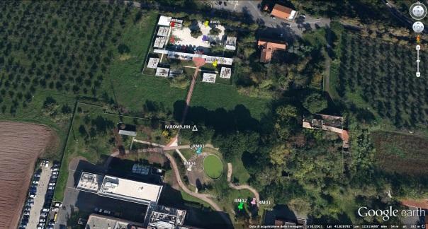Ubicazione delle stazioni sismiche che verranno installate per le prove del corso Rete Mobile all'interno dell'area dell'INGV in Via di Vigna Murata a Roma
