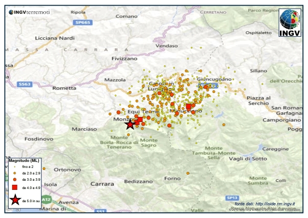 Mappa della sequenza sismica aggiornata alle ore 17.30 del 23 giugno. Si nota l'evento delle 17:01..