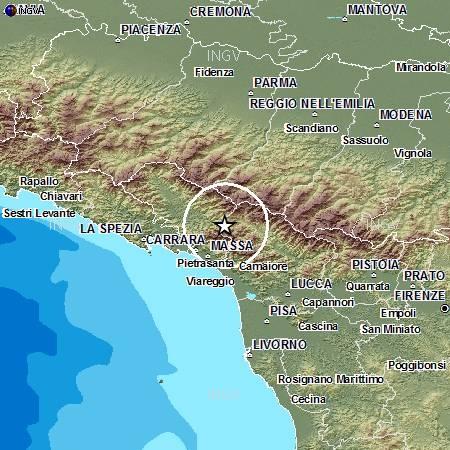 Localizzazione evento Ml 4.4 del 30 giugno 2013 alle ore 16:40 italiane.