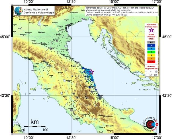 Mappa preliminare degli effetti del terremoto del 21.07.2013 ore 03:32, elaborata tramite i questionari inviati al sito www.haisentitoilterremoto.it (aggiornamento ore 17:00)