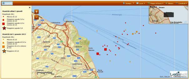 Sequenza sismica al largo del Monte Conero. Si notano in rosso gli eventi recenti (aggiornati alle ore 17:00 italiane). In arancione gli eventi dal 1 gennaio 2013 in cui si nota l'attività sismica nell'area prima di questa mattina.