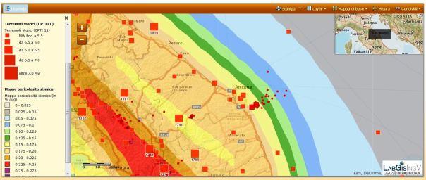 La mappa di pericolosità sismica e la sismicità storica nell'area interessata dalla sequenza.
