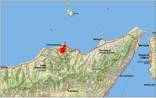 Sequenza sismica del 16 agosto in provincia di Messina. I quadrati rappresentano la localizzazione dei due eventi di magnitudo (ML) 4.1 e 4.2 .