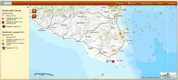 Il quadrato rosso rappresenta la localizzazione evento ML 4.0 delle 19:18
