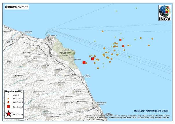 Sequenza sismica in Adriatico centro-settentrionale dal 21 al 31 luglio.