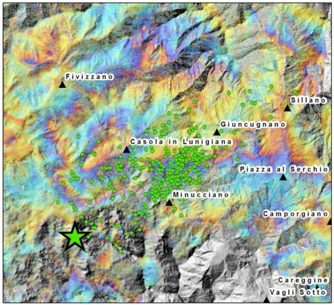 Figura 1. Frange di colore dell'interferogramma che descrive lo spostamento conseguente al terremoto del 21 giugno