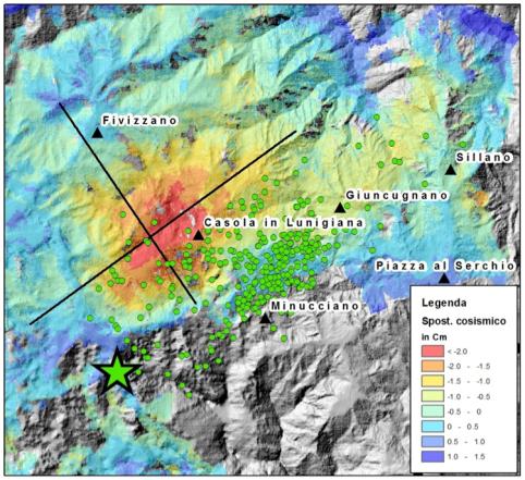 Figura 2. Mappa dello spostamento del suolo cosismico misurato da COSMO-SkyMed dopo il terremoto della Lunigiana.