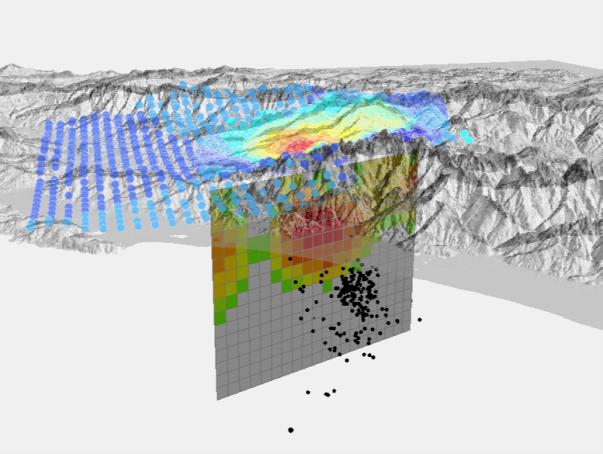 Fig. 3. Il modello della faglia responsabile del terremoto del 21 giugno visto da Sud. Ogni quadratino in cui è suddivisa la faglia ha dimensione 1 km x 1 km. Il colore rappresenta la quantità di spostamento, che nel lobo rosso raggiunge circa 45 cm, a circa 4-5 km di profondità. Il grigio corrisponde a spostamento nullo