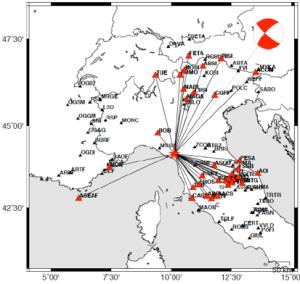 Nuovo meccanismo focale del terremoto del 21 giugno (M52) e distribuzione delle stazioni sismiche utilizzate nel calcolo