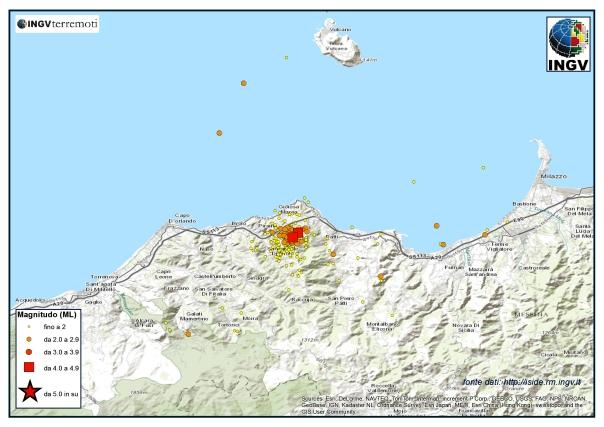 Sequenza sismica in provincia di Messina. Oltre 200 gli eventi in agosto, i due più forti nella notte tra il 15 ed il 16 di magnitudo ML 4.1 e 4.2.