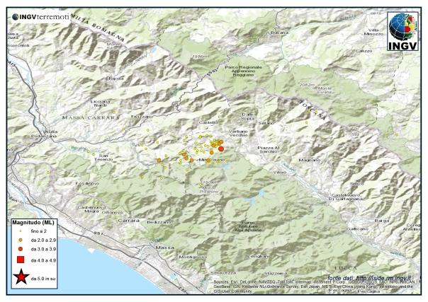 Evoluzione della sequenza  sismica in Lunigiana nel mese di settembre 2013.
