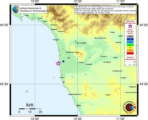 """Distribuzione dei risentimenti del terremoto dalle segnalazioni sul sito INGV """"haisentitoilterremoto"""""""