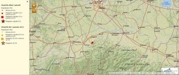 Localizzazione eventi sismici del 21 novembre 2013 tra le province di Alessandria e Pavia (agg. ore 13:00 italiane)