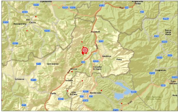 Localizzazione evento sismico delle 21:13 del 30 novembre in Provincia di Rieti.