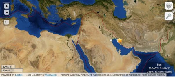 Eicentro del terremoto in Iran nel contesto della zona di deformazione del Mediterraneo e del Medio Oriente