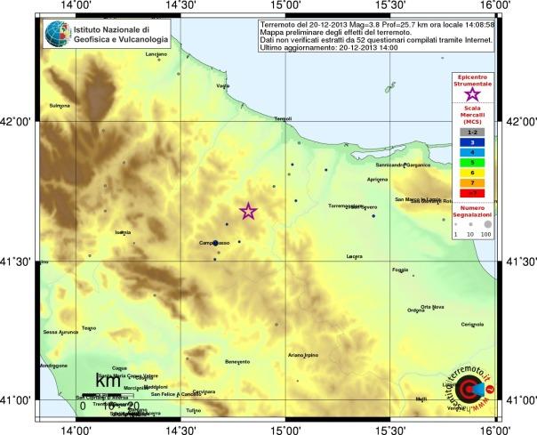 Mappa dei risentimenti segnalati al sito haisentitoilterremoto.it