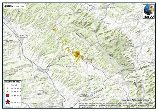 I terremoti registrati nel Bacino di Gubbio durante il mese di novembre.