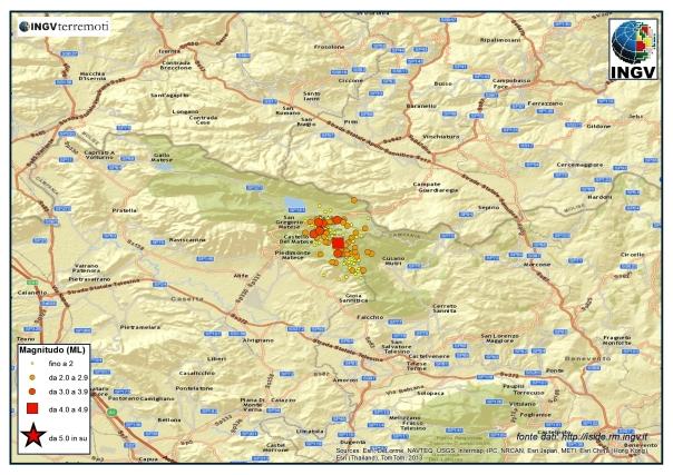 Localizzazione degli eventi avvenuti fino alle ore 09.00 del 30 dicembre tra le province di Caserta e Benevento.