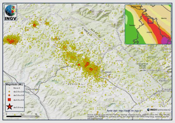 Epicentri dei terremoti localizzati dalla RSN dell'INGV dal 1 gennaio 2013 a oggi