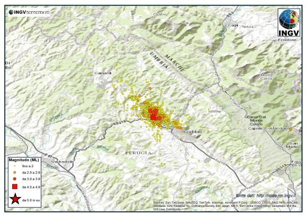 Sequenza sismica nel Bacino di Gubbio nel mese di dicembre 2013.