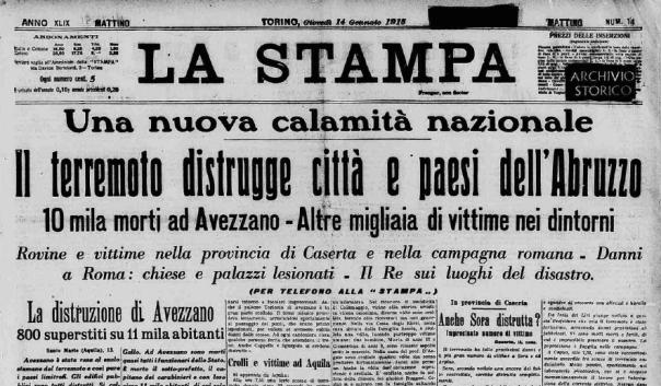 La prima pagina del quotidiano La Stampa del 14 gennaio 1914 (dall'archivio storico www.lastampa.it)