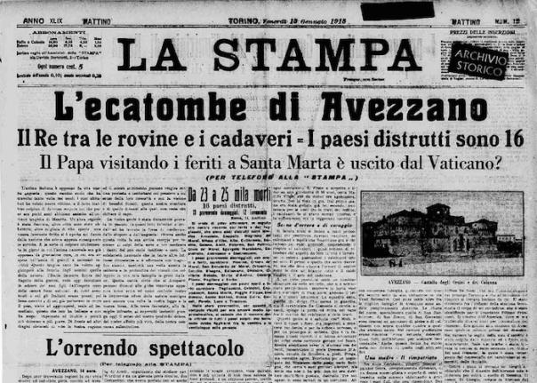 La prima pagina del quotidiano La Stampa del 15 gennaio 1914 (dall'archivio storico www.lastampa.it)