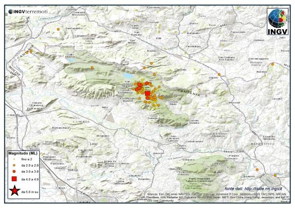 La sequenza sismica nel Sannio-Matese nel 2013.