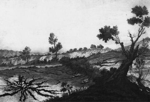 """Fenditure di terreno nel distretto di Gerocarne (Fonte: Atlante iconografico allegato alla """"Istoria"""" di Sarconi, 1784)"""