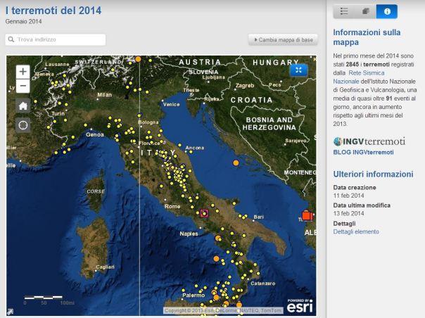 Mappa interattiva della sismicità del 2014.