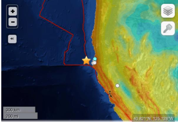 Epicentro del terremoto al largo delle coste della California settentrionale. Le città più vicine all'epicentro sono Ferndale, Eureka e Fortuna