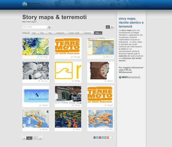 Galleria di story maps pubblicata nel portale italiano di ArcGIS on line della ESRI.
