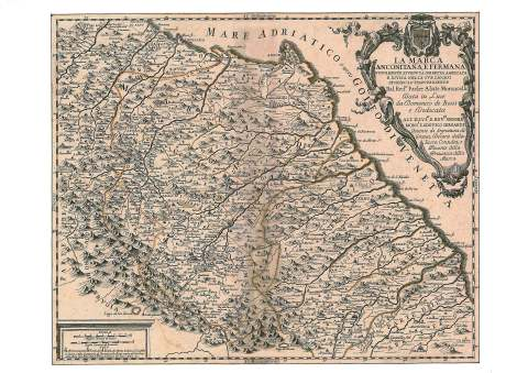 Mappa storica delle Marche nel '700 (Moroncelli, 1711).