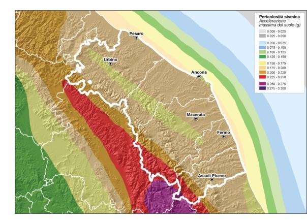 Pericolosità sismica delle Marche (fonte: zonesismiche.mi.ingv.it).