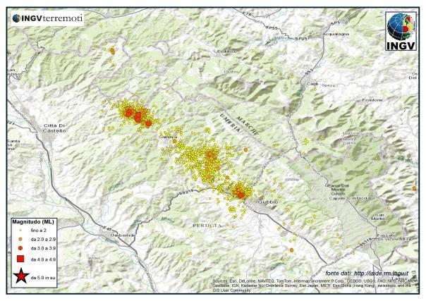 Sequenza nell'area di Gubbio durante il mese di marzo. Si noti la concentrazione di eventi nella parte nord  ovest tra Città di Castello (PG) e Apecchio (PU).
