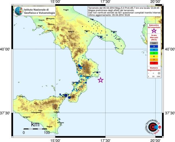 Terremoto nel mar ionio m 5 0 5 aprile 2014 for Ingv lista terremoti di oggi