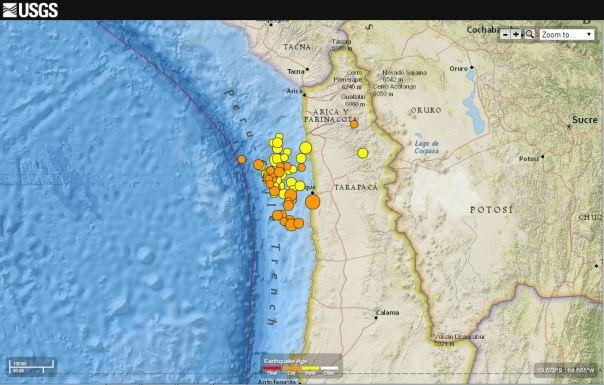 Epicentri dei terremoti avvenuti nell'ultima settimana al largo delle coste del Cile settentrionale (fonte: USGS).
