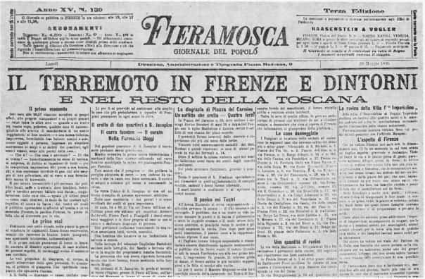 """La notizia del terremoto occupa l'intera prima pagina dell'edizione di lunedì 20 maggio 1895 del giornale fiorentino """"Fieramosca"""" (immagine da Cioppi, 1995)."""