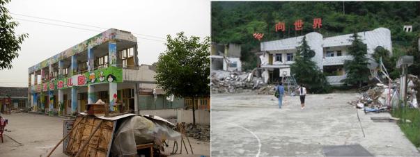 Due delle scuole nel Sichuan crollate durante il terremoto del 2008. In quella di destra (scuola elementare di Qushan) il primo piano è stato completamente schacciato dai due superiori. Centosei bambini morirono in questo edificio.