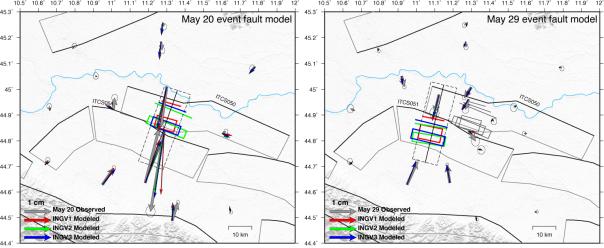Figura 1: spostamenti co-sismici stimati (frecce grigie) dall'analisi di dati GPS e spostamenti modellati (frecce nere) per gli eventi del 20 (figura a sinistra) e del 29 maggio (figura a destra). Le box colorate indicano la proiezione in superficie delle faglie ottenute dall'inversione degli spostamenti osservati con diversi approcci (da Serpelloni et al., 2012). Le faglie in grigio rappresentano le strutture sismogeniche dal DISS (http://diss.rm.ingv.it).