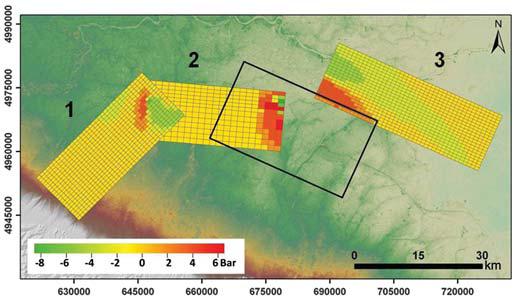 Figura 3: mappa della variazione di sforzo di Coulomb sui piani di faglia adiacenti alla faglia che ha generato il terremoto del 20 maggio, (da Pezzo et al., 2013). In rosso le variazioni di sforzo positive, in verde le variazioni di sforzo negative (espresse in Bar).